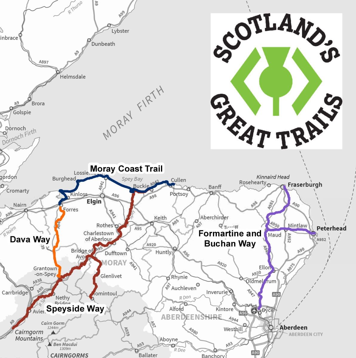 Scotland's Great Trails map - section for illustration purposes. ©SNH. For information on reproduction rights contact the Scottish Natural Heritage Image Library on Tel. 01738 444177 or www.nature.scot