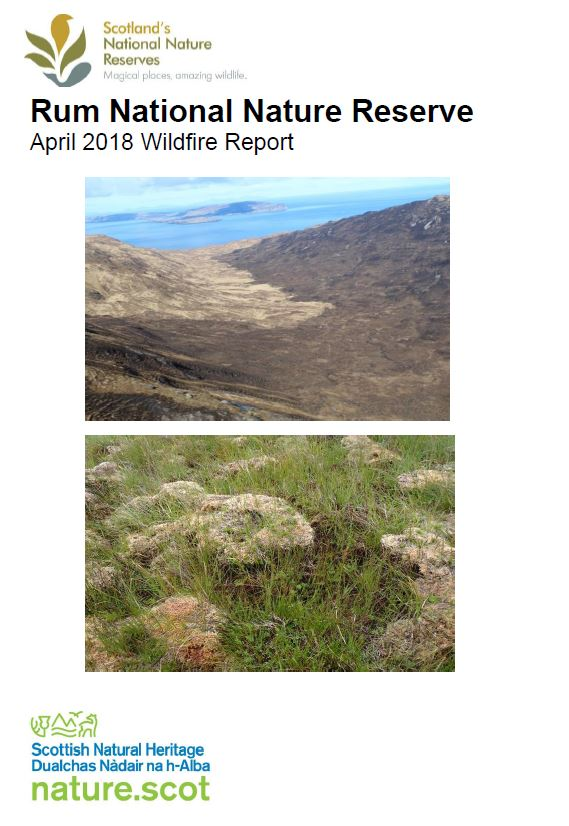 Rum NNR Wildfire report 2018 - front cover
