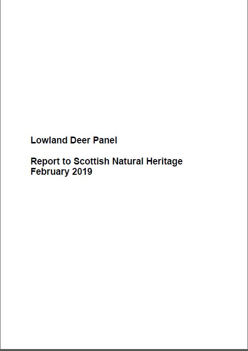 Lowland Deer Panel Report 2019 - front cover
