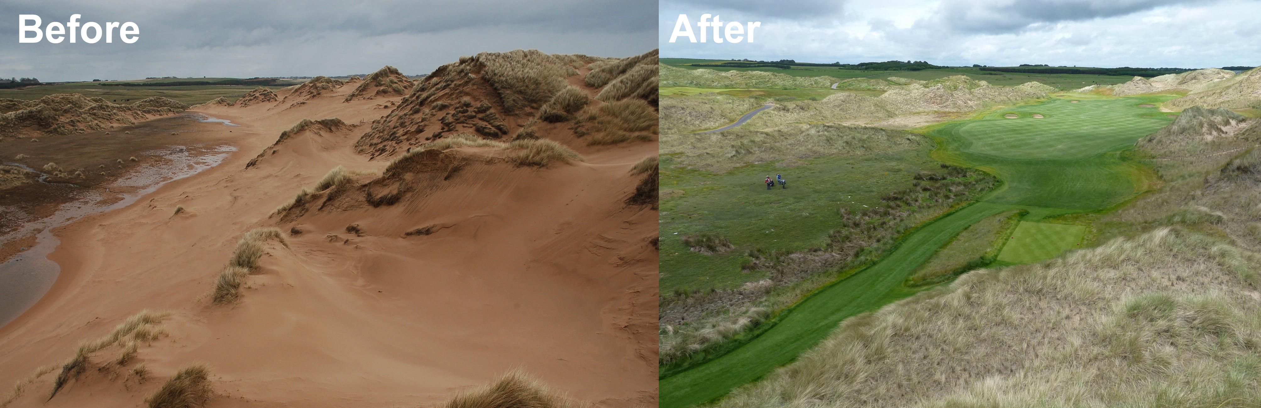 Foveran Links - Sandend burn sandsheet looking north - Before and After