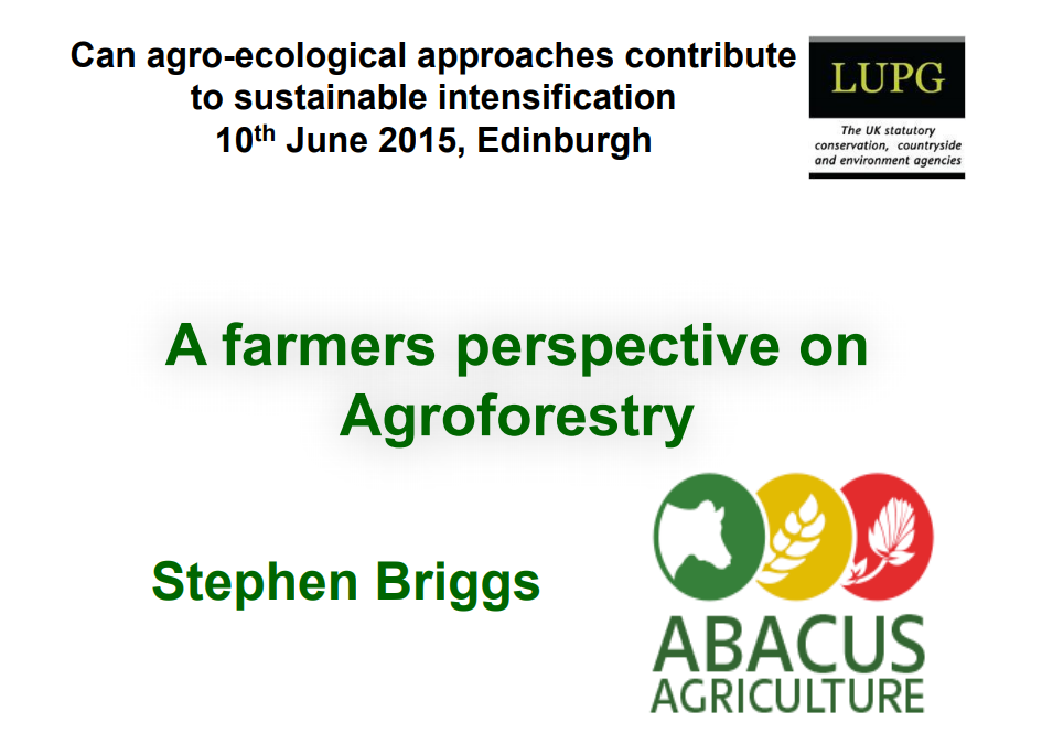 A Farmer's Perspective on Agroecology Stephen Briggs Opening Slide
