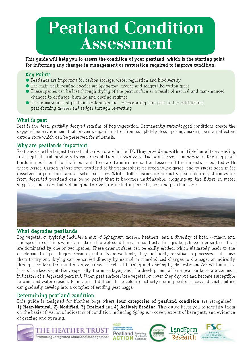 Peatland Condition Assessment Guide - front cover of leaflet