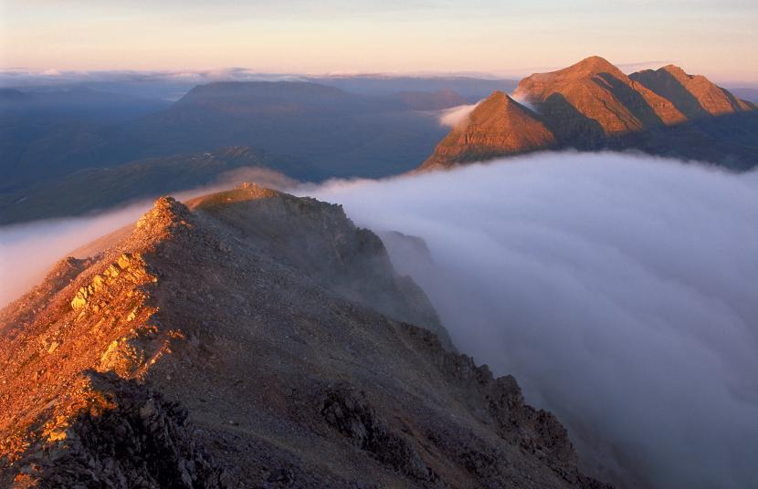 The Beinn Eighe Ridge and temperature inversion. Beinn Eighe NNR. ©Lorne Gill/SNH. For information on reproduction rights contact the Scottish Natural Heritage Image Library on Tel. 01738 444177 or www.nature.scot