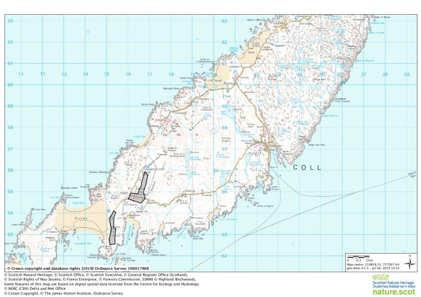 Uist, Coll and Tiree Barnacle Goose Management Scheme - Coll eligible fields