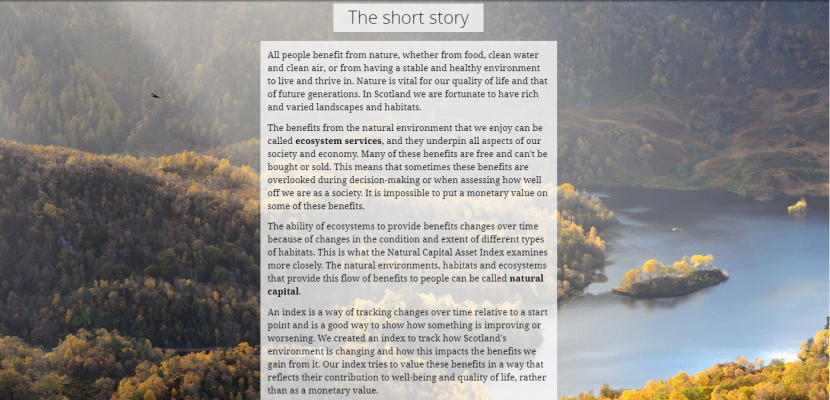 Natural Capital Asset Index - Story Map