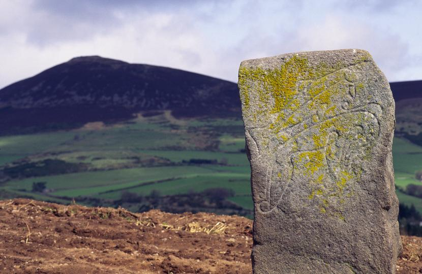 The craw Stane, a pictish standing stone with pictish symbols on it, near Rhynie, Aberdeenshire.