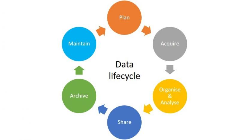 Marine survey data lifecycle. Stages include; Plan, Acquire, Organise & Analyse, Maintain, Archive and Share.