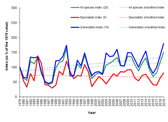 Graph - Scottish butterfly population trends (1979-2019)