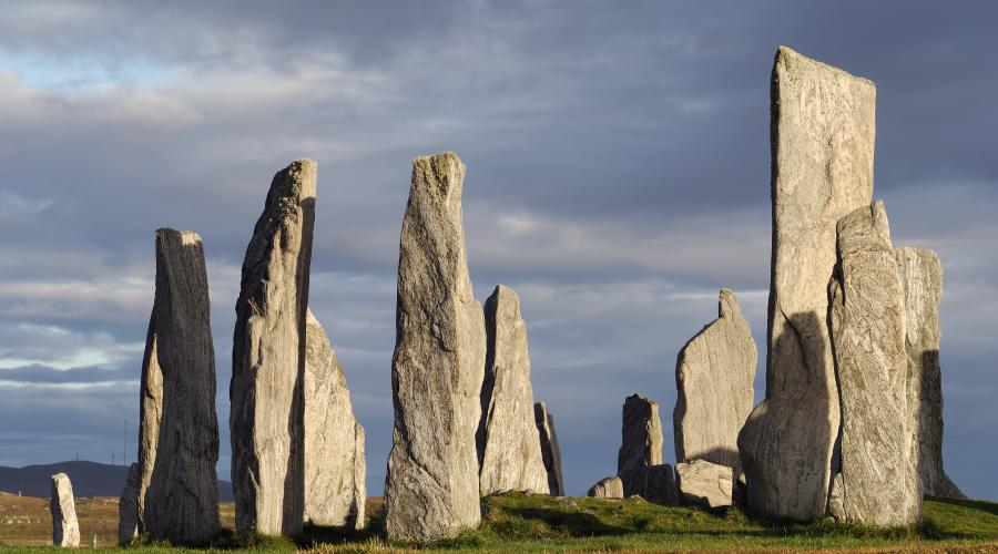 Contorted gneissic banding is clearly visible in the Callanish standing stones, Isle of Lewis, Western Isles Area ©Lorne Gill/SNH. For information on reproduction rights contact the SNH Image Library on Tel. 01738 444177 or www.nature.scot