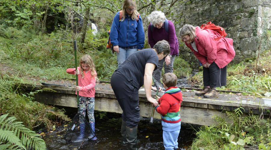River sampling and looking for freshwater invertebrates at Taynish National Nature Reserve. ©Lorne Gill/SNH. For information on reproduction rights contact the Scottish Natural Heritage Image Library on Tel. 01738 444177 or www.nature.scot