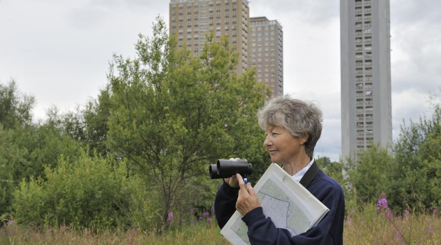 Marlies MacLean a volunteer surveying a nature site at the Red Road flats for the Biodiversity in Glasgow project. ©Lorne Gill/SNH. For information on reproduction rights contact the SNH Image Library on Tel. 01738 444177 or www.nature.scot