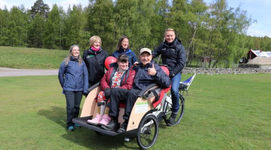 Launch of an electric trishaw, Highland Folk Park, Newtonmore. ©CNPA - NON SNH COPYRIGHT, FOR SNH USE ONLY ON THE WEBSITE. For information on reproduction rights contact the Scottish Natural Heritage Image Library on Tel. 01738 444177 or www.nature.scot
