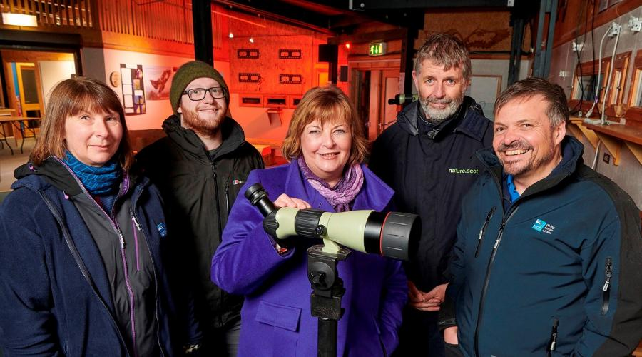 Scottish Tourism & Culture Secretary Fiona Hyslop, Ross Johnston, SNH Deputy Director Sustainable Growth, Uwe Stoneman, Senior Site Manager Abernethy National Nature Reserve, RSPB Scotland. copyright Ewen Weatherspoon, SNHcopyright Ewen Weatherspoon, SNH