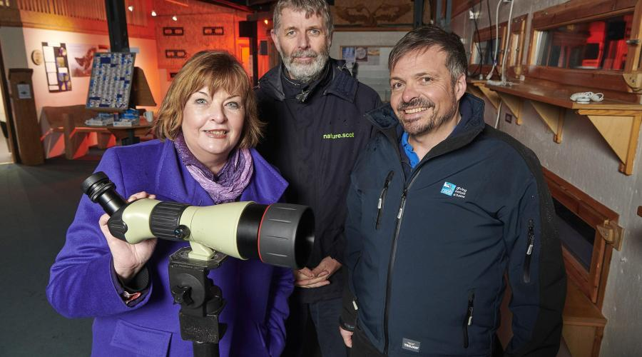 Fiona Hyslop Cabinet Secretary and MSP on a visit to the RSPB Abernethy Nature Reserve. Loch Garten Reserve