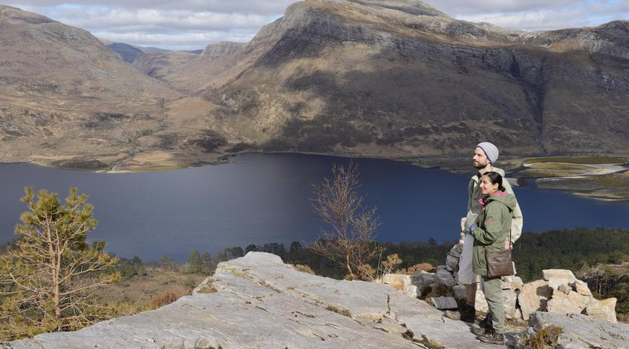 Visitors enjoying a day out at the mountain trail, Beinn Eighe National Nature Reserve, April 2015. ©Lorne Gill/SNH