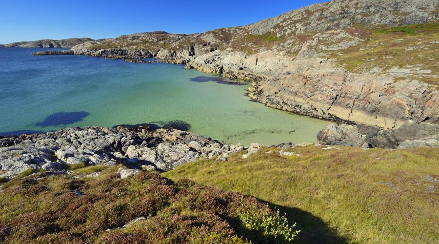 Turquoise sea, rocky hills and heather landscape