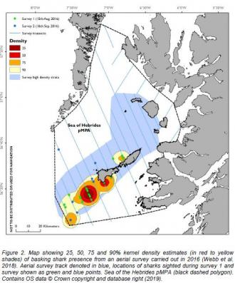 Basking sharks - Map identifying zones where basking sharks occur more frequently within a possible MPA to aid management discussions