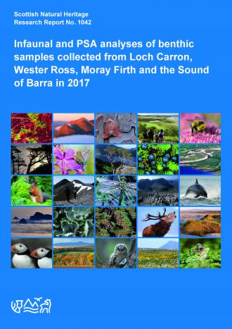 Front cover of SNH Research Report 1042 - Infaunal and PSA analyses of benthic samples collected from Loch Carron, Wester Ross, Moray Firth and the Sound of Barra in 2017