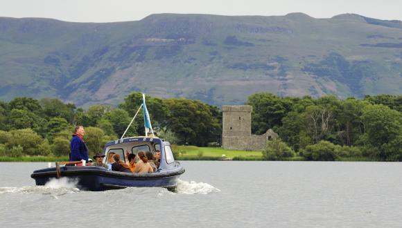 Historic Scotland tourist boat taking visitors out to Castle Island on Loch Leven NNR. ©Lorne Gill/SNH. For information on reproduction rights contact the Scottish Natural Heritage Image Library on Tel. 01738 444177 or www.nature.scot