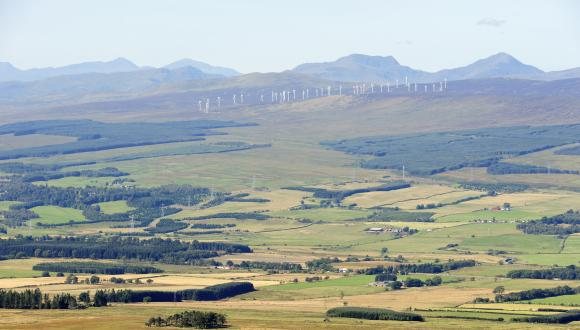 The Braes of Doune windfarm from Mickle Corum in the Ochil Hills. September 2015. ©Lorne Gill/SNH. For information on reproduction rights contact the Scottish Natural Heritage Image Library on Tel. 01738 444177 or www.nature.scot