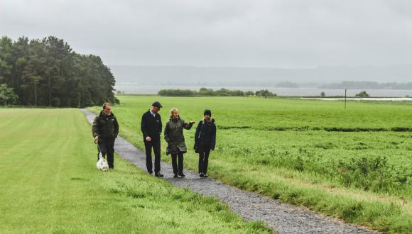 Dogwalker, landowner and SNH Chief Exec walking on a path at Loch Leven. ©SNH. For information on reproduction rights contact the Scottish Natural Heritage Image Library on Tel. 01738 444177 or www.nature.scot