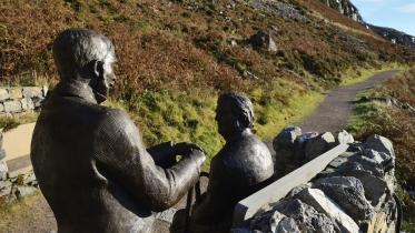 Sculpture of the Victorian geologists Peach and Horne beside the rock room at Knockan Crag NNR. ©Lorne Gill/SNH. For information on reproduction rights contact the Scottish Natural Heritage Image Library on Tel. 01738 444177 or www.nature.scot
