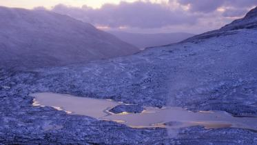 View west in winter light from Beinn Eighe NNR towards Loch nan Cabar, Wester Ross. ©John MacPherson/SNH. For information on reproduction rights contact the Scottish Natural Heritage Image Library on Tel. 01738 444177 or www.nature.scot